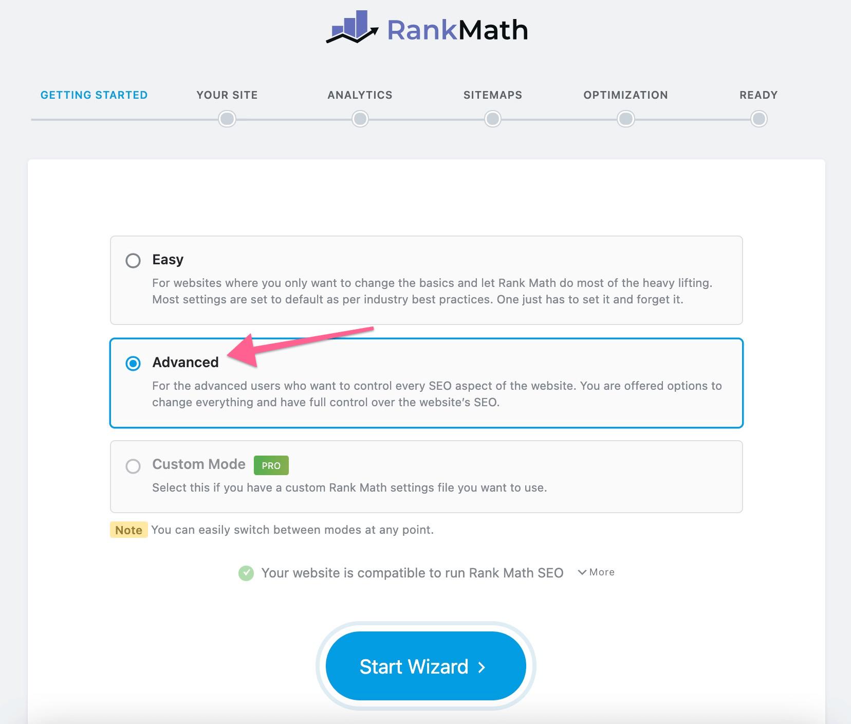 Choose RankMath Advanced Settings