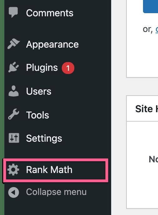 Click on RankMath Gear Icon