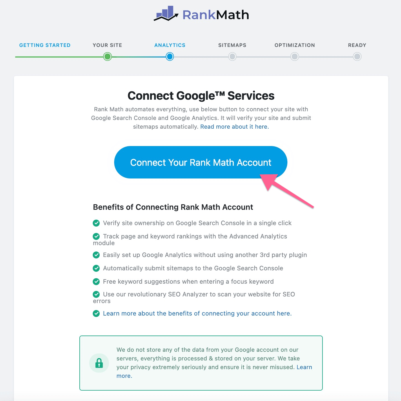 Connect Google Services with RankMath