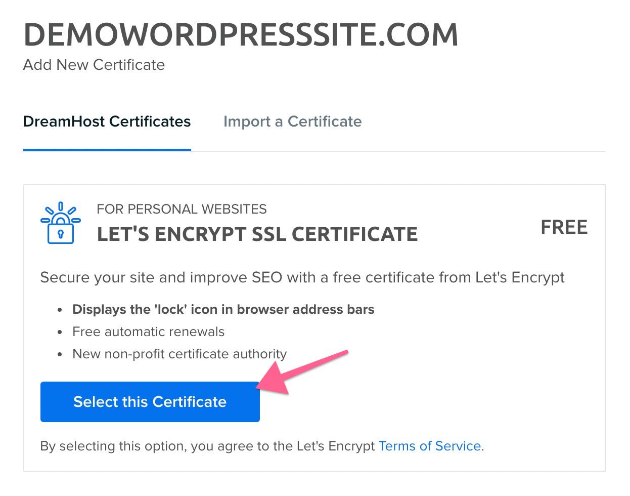 Install the SSL Certificate