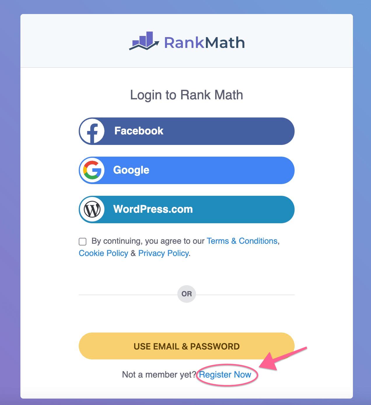 Register on RankMath SEO